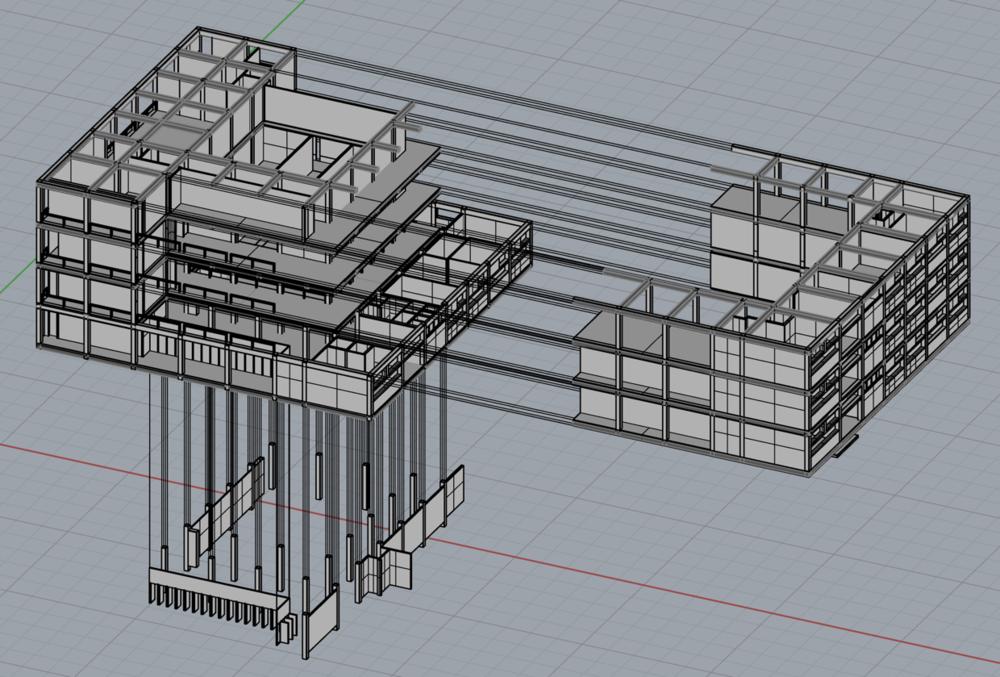 Rhino Screenshot: Exploded Axonometric Drawing