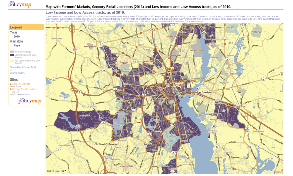 Figure 1.1 Map with Farmers' Markets, Grocery Retail Locations (2013) and Low Income and Low Access Tracts, as of 2010