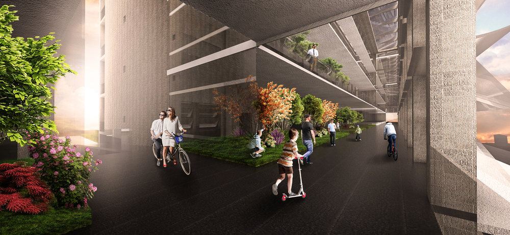 Interior Rendering of Housing and Elevated Bike Path