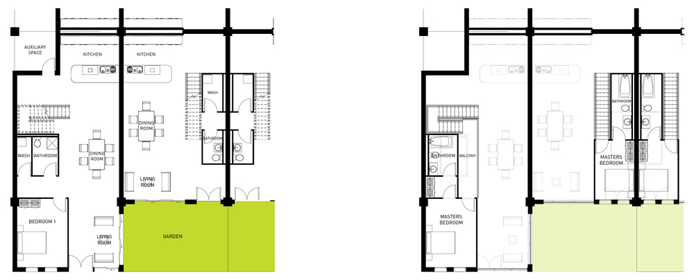 Building Type A Single and Double Bedroom Unit Lower Floorplan