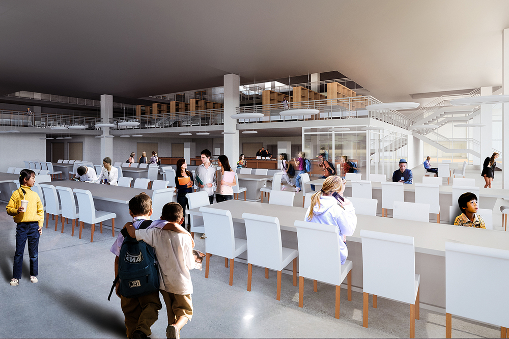 Ground Level Secondary School Interior Rendering