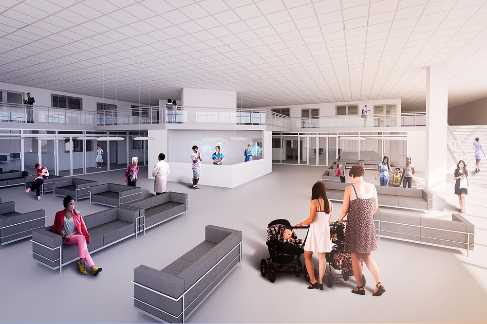 Ground Level Secondary Healthcare Center Interior Rendering