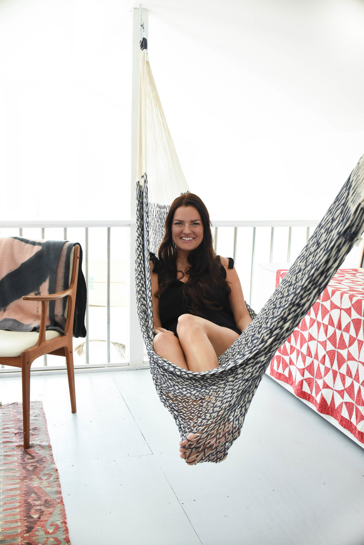 Resident hammock tester. Photo: Leland Van Alstyne
