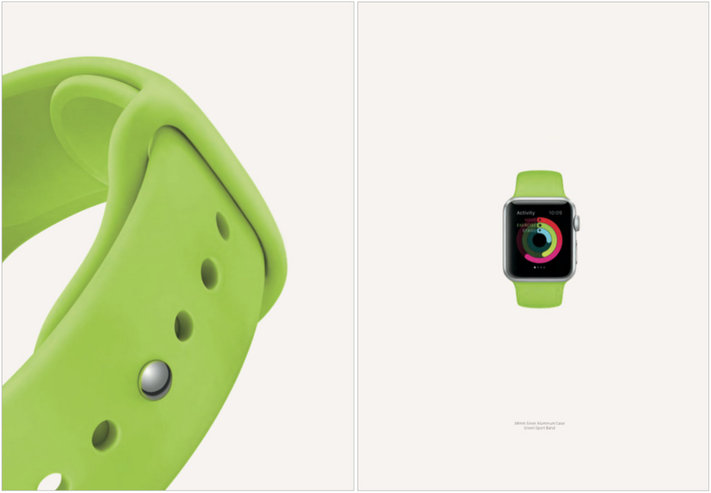 Interestingly, the green fluoroelastomer band made the cut. Apple included a screenshot of the Activity app.