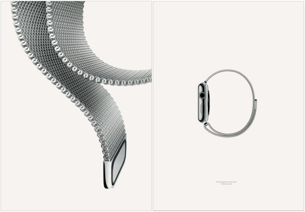 The milanese loop provides great imagery (this same shot is on Apple's website), while the profile shot is able to show the band's clean and minimal nature. Notice the lack of technology in these shots.