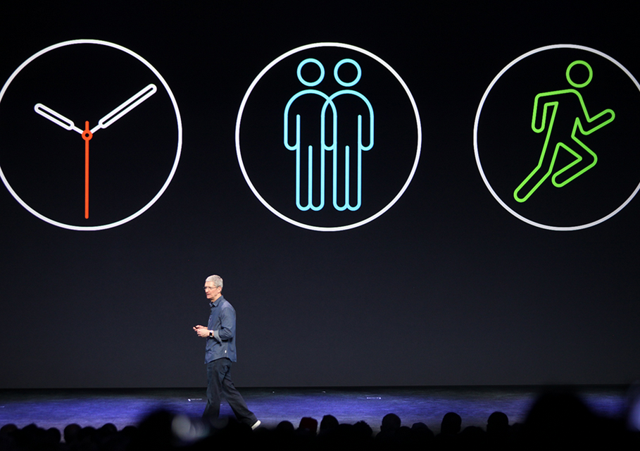 Tim Cook introducing the three main marketing tentpole features for Apple Watch: a timepiece, communication device, and health/fitness tracker.