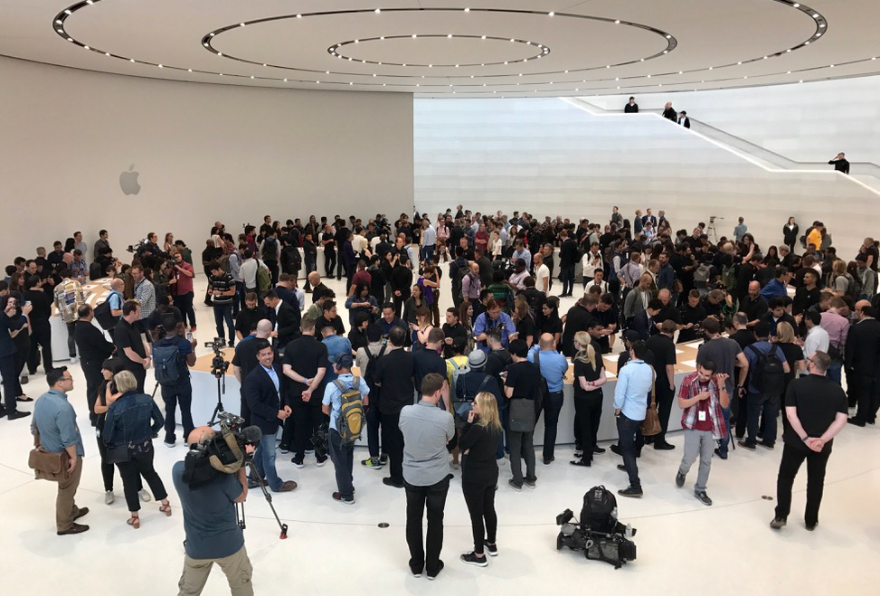 The Steve Jobs Theater exhibit space was still packed after an hour of hands-on time.