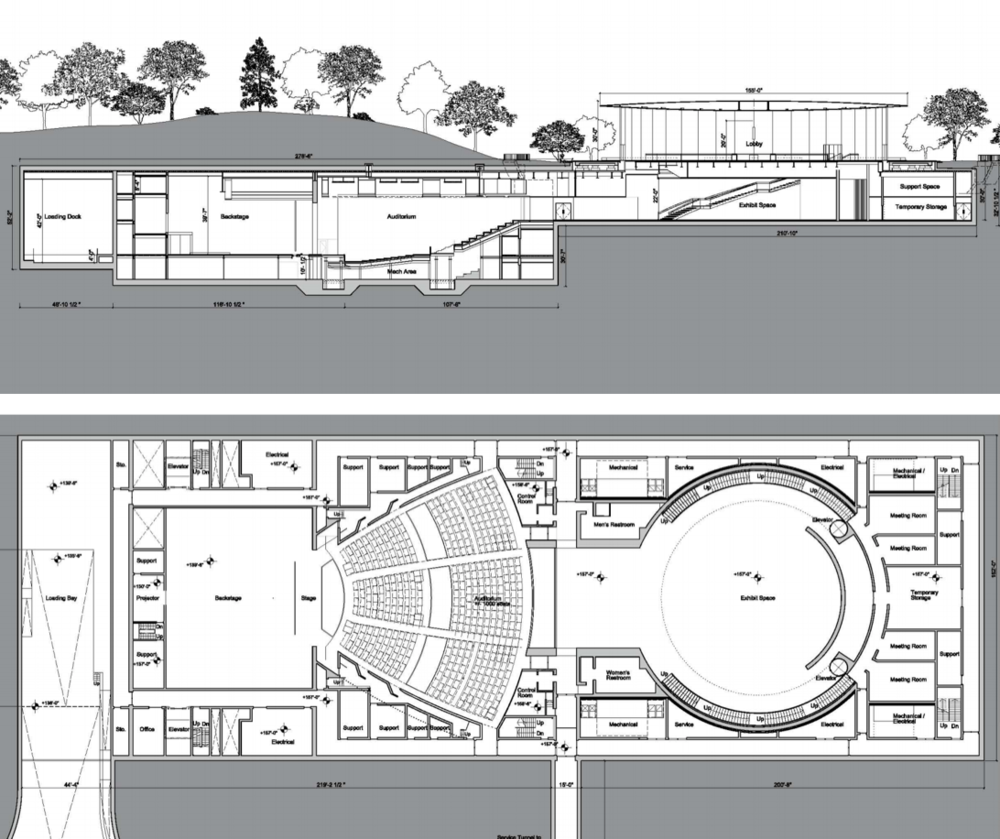 Steve Jobs Theater floor plans.