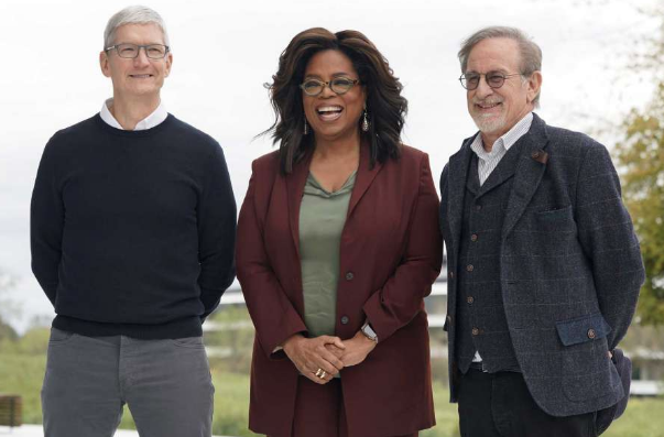 Tim Cook, Oprah Winfrey, and Steven Spielberg at Apple Park.