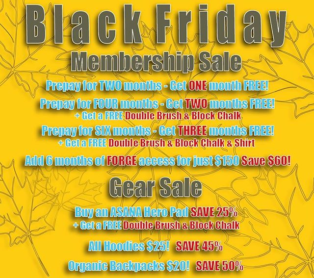 Black Friday is just a couple days away and we've got some deals you don't wanna miss! Come into either @bhamboulders or @firstaverocks to take advantage of this sale! . . Can't make it into the gyms? No worries! Give us a call and we can get you set up with a membership over the phone! Hope everyone had a safe and happy holiday! . . . . . #rockclimbing #climbon #climbing_pictures_of_instagram #climbing #bouldering #downtownbham #climbingisbliss #climbinginspiration #alabama #firstavenuerocks #firstaverocks #accessfund #liveclimbrepeat #instagrambham #happyclimbing #climb #rockclimber #themagiccity #birmingham #climbinggym #boulderinggym #happythanksgiving #blackfriday