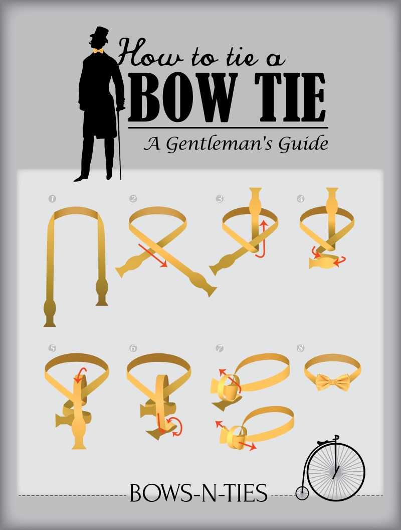 bows-n-ties :     Only 1% of adult men know how to tie their own bow ties. Maybe this printer friendly diagram will help turning more men into real gentlemen. (Image source:   Bows-N-Ties  )