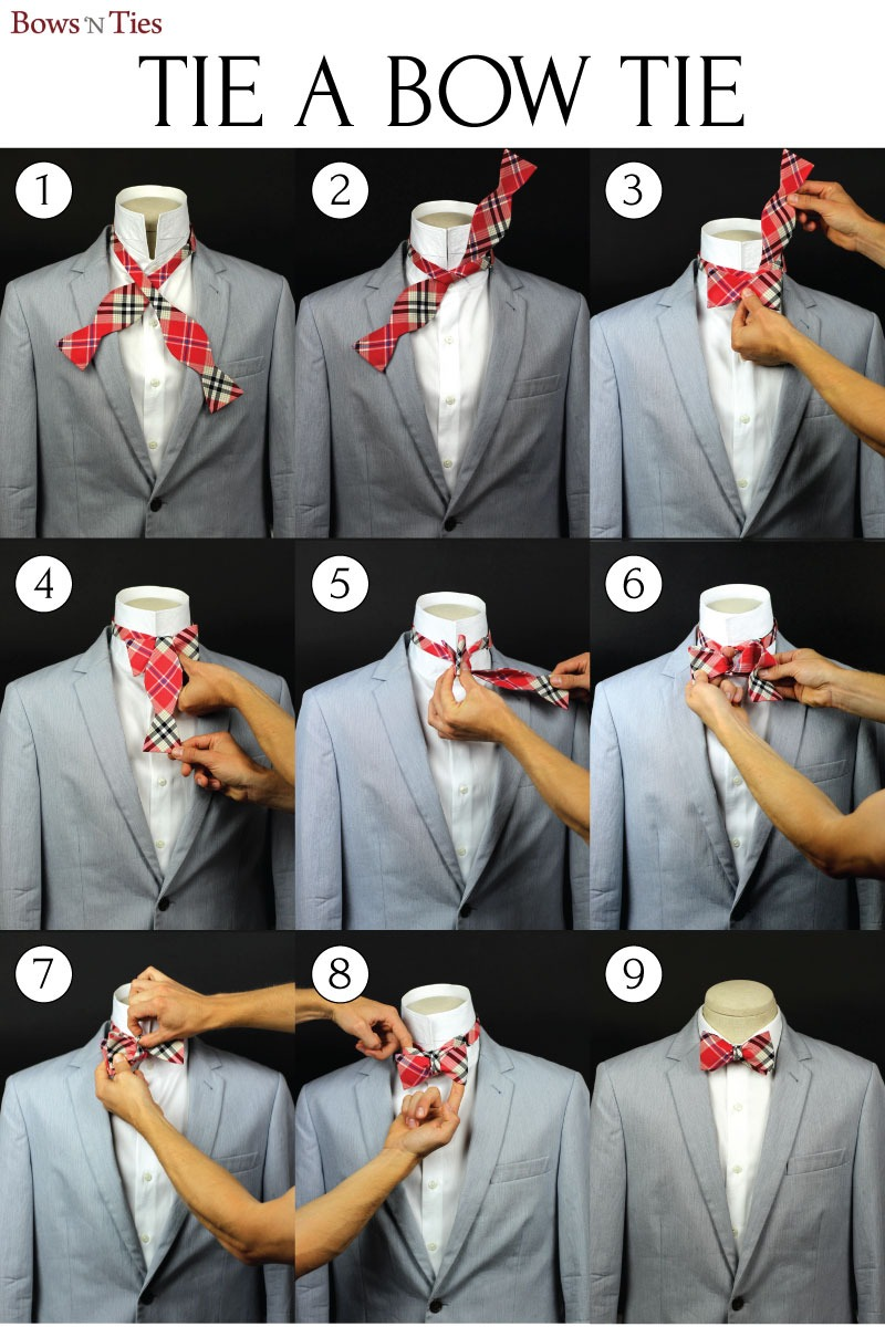 bows-n-ties :     Learn to Tie a Bow Tie in 9 simple steps (source:  Bows-N-Ties )