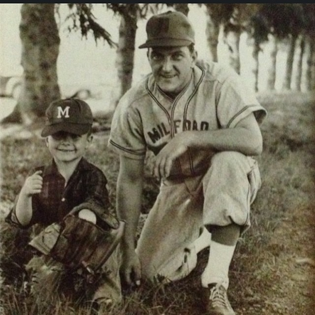 "I'm thrilled to be collaborating with @oralb on a social media campaign featuring lifestyle posts. This first photo is of my father and grandfather when he was on the Milford Macs, a farm team for the New York Yankees, circa 1962.       Please share your own #powerofdad photos with me for Father's Day      ""Son, brother, father, lover, friend. There is room in the heart for all the affections, as there is room in heaven for all the stars."" - Victor Hugo       #powerofdad #oralb #victorhugo #vintageinspiration #fathersday"