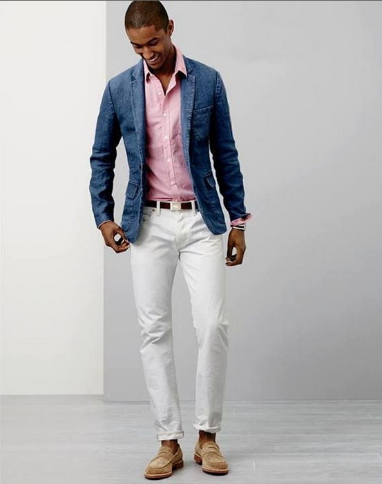 love this chambray blazer. not really a fan of pink but it works really well with this whole look.