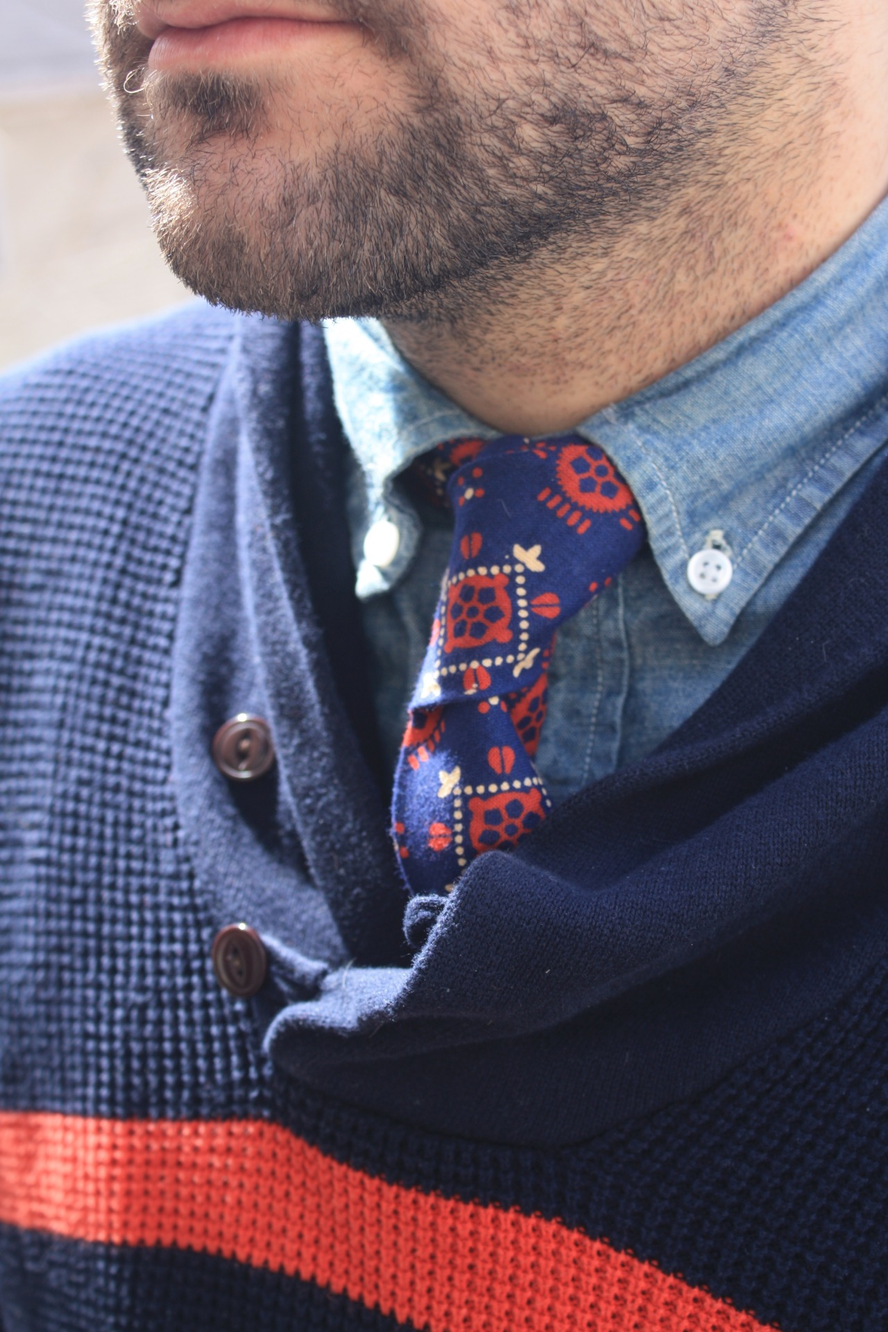 I like wearing patterned ties underneath my sweaters. They're a simple way to layer. This  cotton tie  was made in the USA by a Brooklyn based clothing company called Fischer .