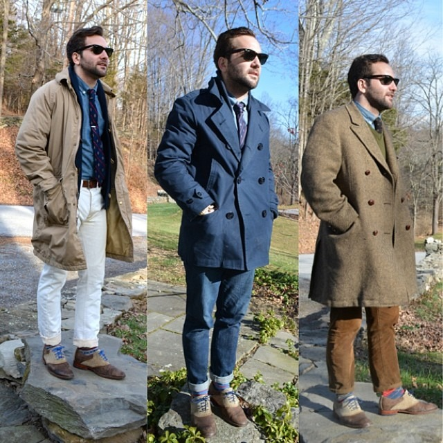 I was tagged by @jeffdepano to share some of my favorite looks of this past month. November consisted of ray bans, coats and stone walls. What were your favorite looks @jasonchew_, @samuelpyo, and @anideallength? #menswear #mensstyle #mensfashion #fashion #wiwt #wdywt #ootd #ootn #grayers #jcrew #colehaan #rayban #styleseek #featuremensfashion #brothersandcraft