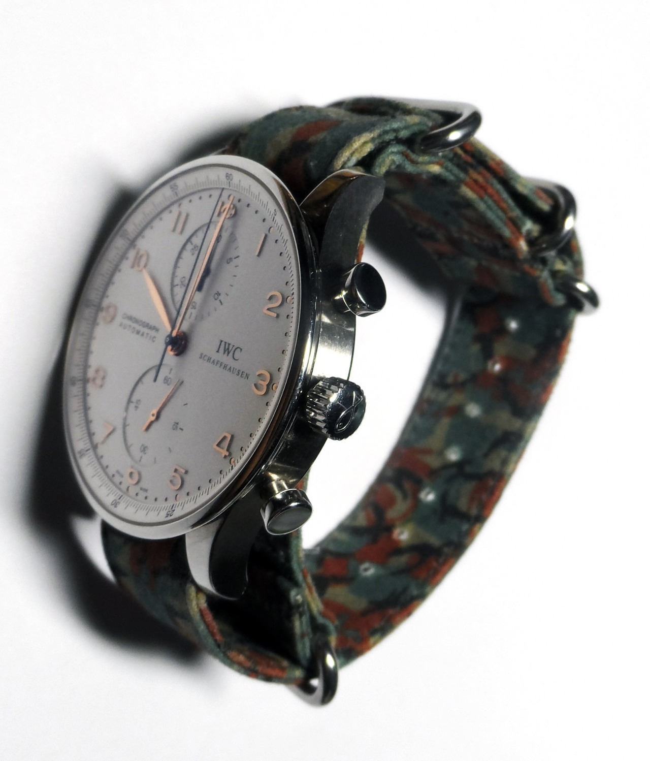 suigeneric :       Suigeneric NYC  Brit Camo Original Hand Waxed Cotton Watchstrap on IWC Portuguese