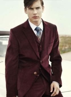 maroon suit.