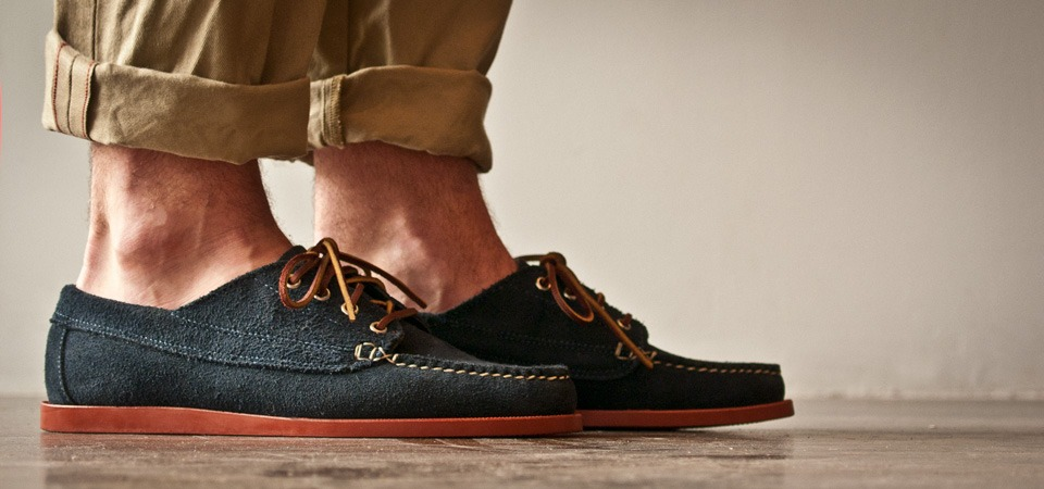thebowtielife :      Oak Street Bootmakers - Navy Suede Red Brick Sole Trail Oxford      I WANT THESE SO BAD.