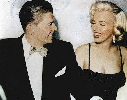 theniftyfifties :     Ronald Reagan and Marilyn Monroe sharing a laugh.