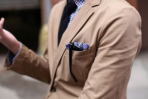 love the blue + khaki combo.