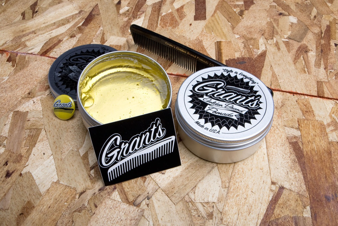 anchordivision :     Grant's Golden Pomade!     love how vintage this looks.
