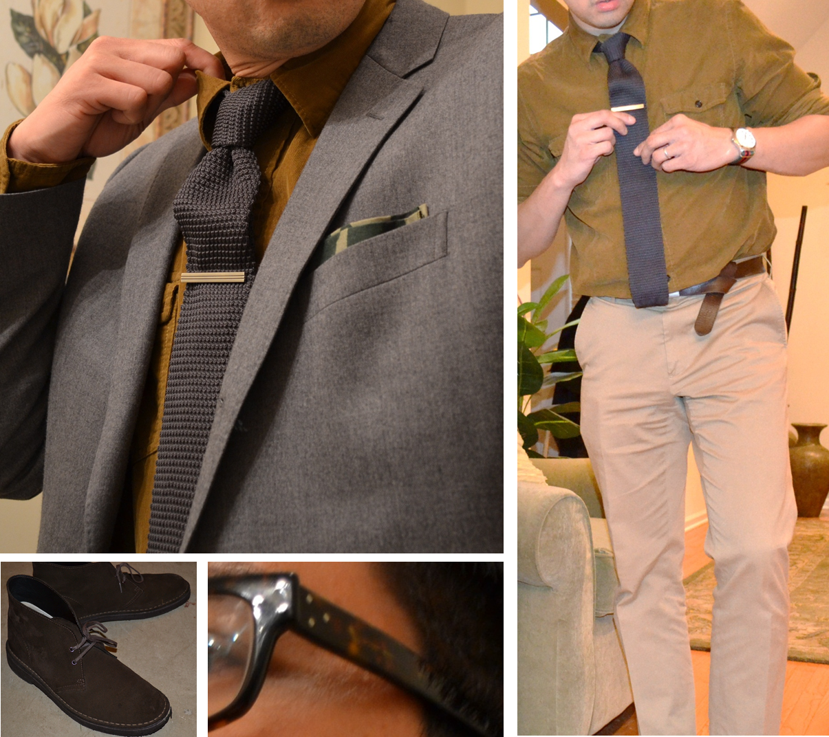funkypresident :     Kit inspired by (ok, liberally stolen from) a mannequin I saw at J. Crew last week.   I like Frank & Co.'s philosophy of mixing tailored and informal, and otherwise clashing unorthodox pieces.   Mr. Mannequin had a washed caramel shirt, mine is a soft fine wale cord, which complemented the texture of the knit tie. Even with the jacket off, the flap pockets lend a casual air against the formality of the tie. And the lighter khakis balance the dark shades up top, and nod toward the springseason.     love all of this. spring fashion at its finest.