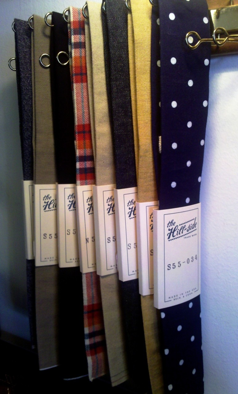 wanttolooklikethis :      todaystie :     The Hill-Side ties at  Mohawk General Store      This is a Japanese brand, right? I think their selection is wider and nicer (to my eye) than last year, when I first noticed them. They look a little too narrow for me, but they always catch my eye.
