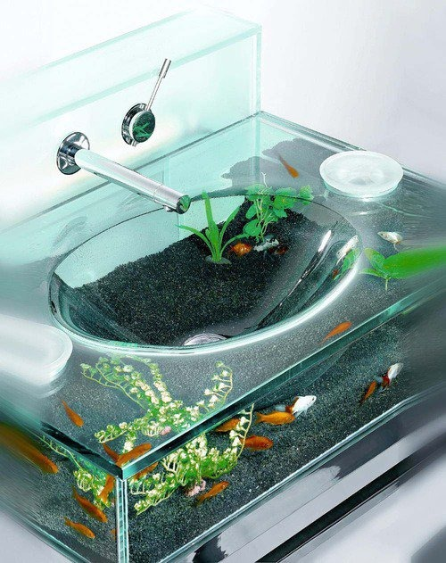 sofapizza :      tlyudacris :     okay this is hands down the coolest sink i've ever seen in my life     those fish must trip balls every time someone brushes their teeth.