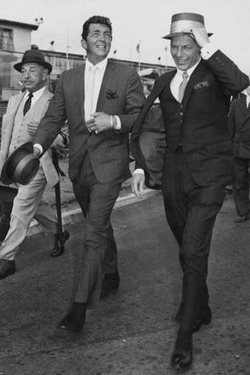 todaystie :     Dean Martin  and Frank Sinatra arriving at London airport.