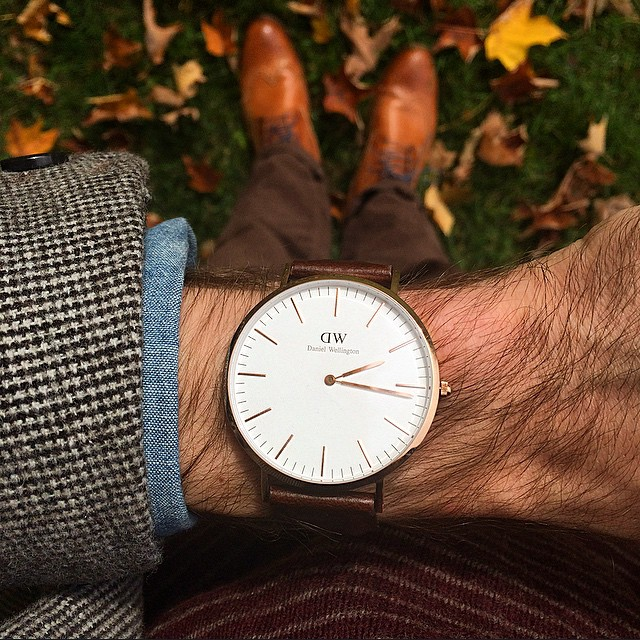 "Wearing my Daniel Wellington ""Classic Bristol"" in my backyard in Rhinebeck, New York."