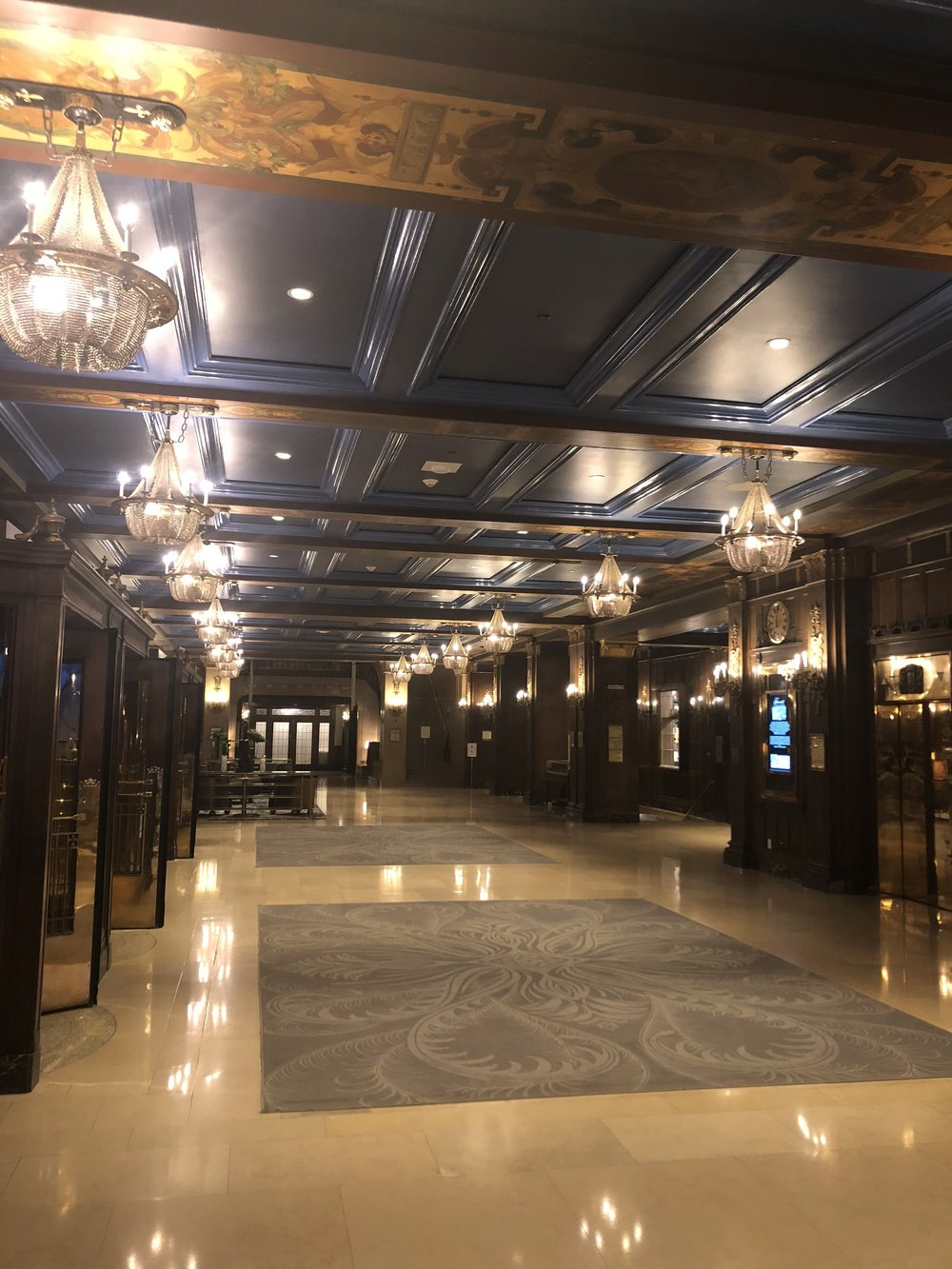 The lobby of Le Chateau Frontnec