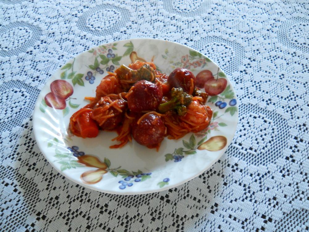 Janny's Spaghetti and Beet Balls (Gluten-Free)