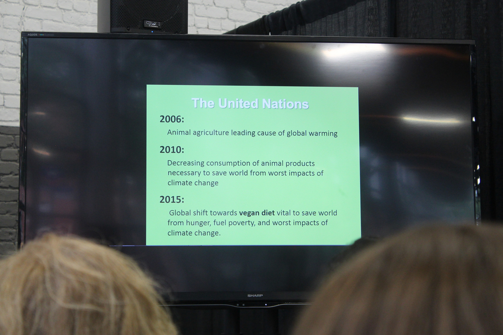Facts on the huge need for a vegan-lifestyle to combat global warming and other climate/enviromental issues from Kathy Stevens' lecture.