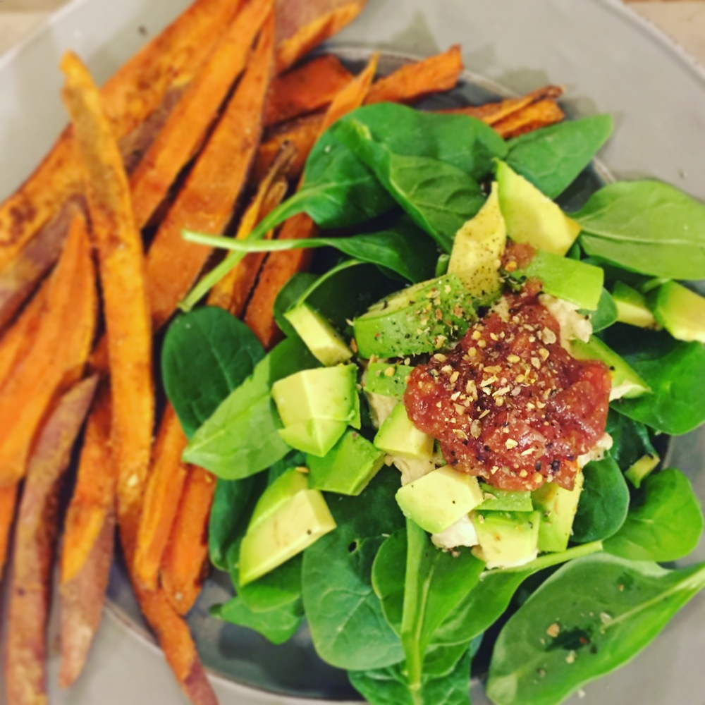 sweet potato fries and salad // photo by lacey althouse