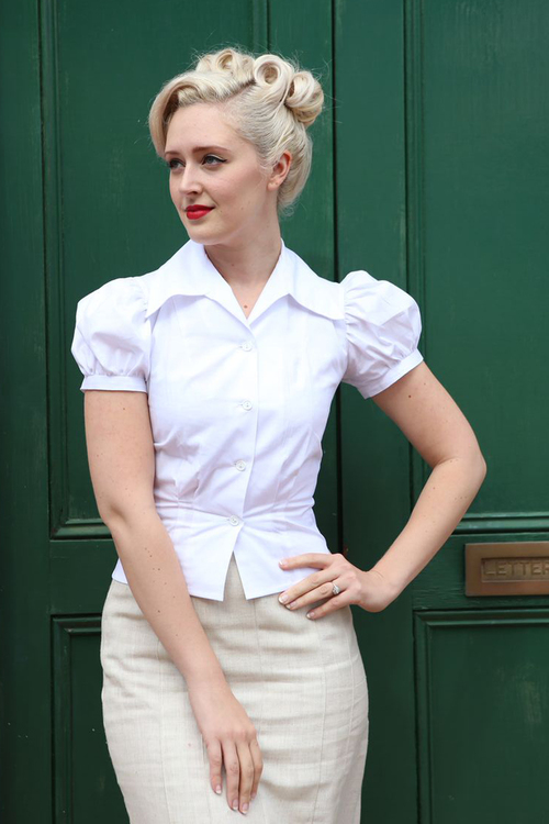 1940s Blouses and Tops Nicolai Blouse ~ White $79.00 AT vintagedancer.com
