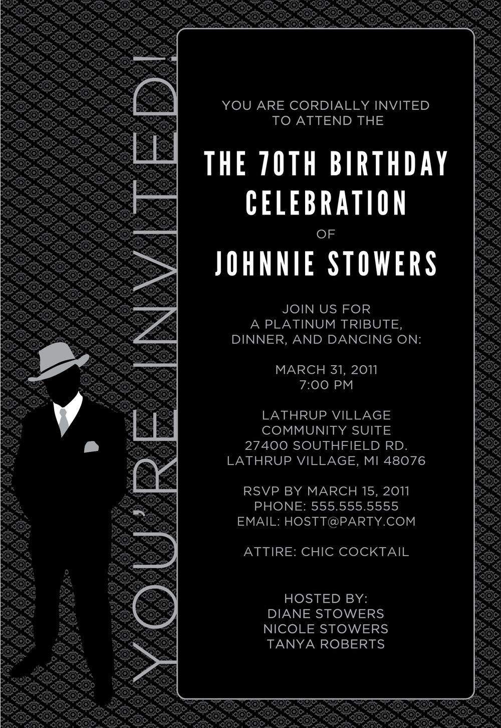 70th Birthday Celebration Invitation