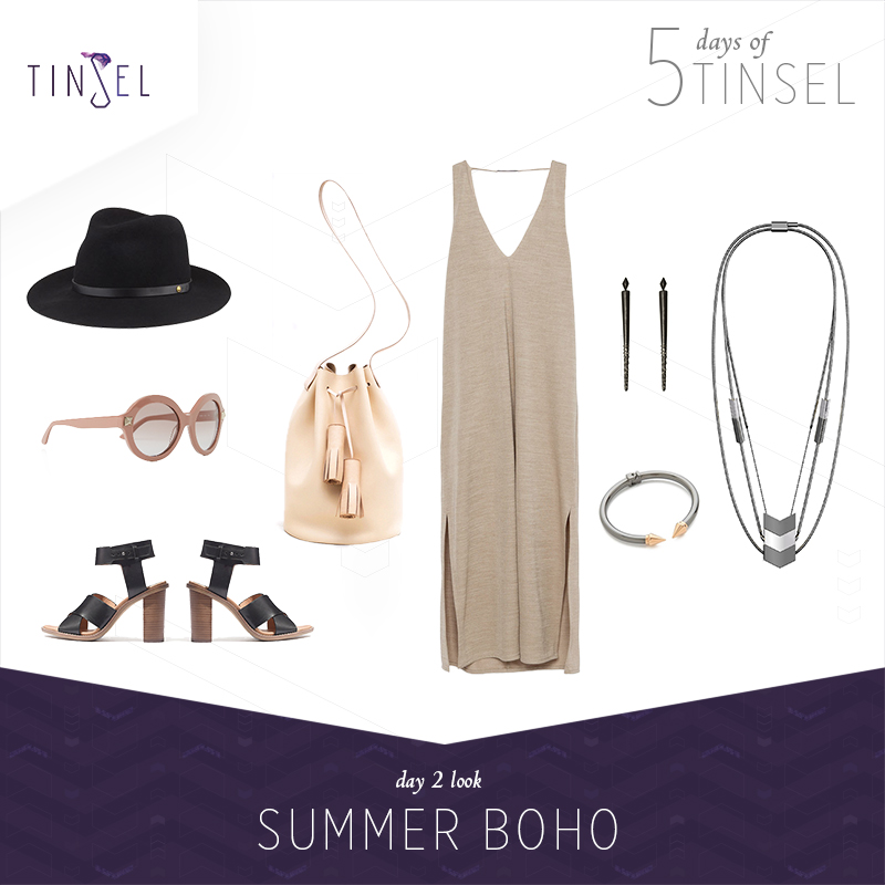 Shop the look: Hat:    Rag & Bone   , Sunglasses:    Valentino   , Shoes:    Madewell   , Bucket Bag:    Building Block   , Dress:    Zara   , Earrings:    House of Harlow 1960   , Bangle:    Vita Fede   .