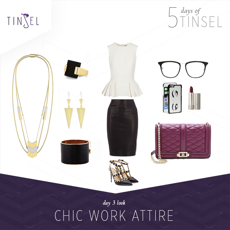 Shop the look: Ring:    Accessorize   , Earrings:    Lana   , Cuff:    Céline   , Peplum Top:    Alexander McQueen   , Skirt:    Karen Miller   , Shoes:    Valentino   , Glasses:    Victoria Beckham   , Phone Case:    Kate Spade   , Lipstick:    ILIA   , Bag:    Rebecca Minkoff   .