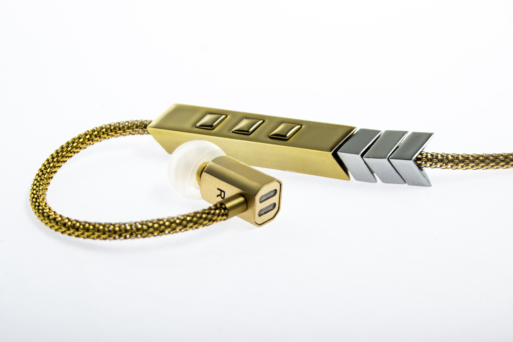 Tinsel- The Dipper Audio Necklace in Gold, 3-button remote mic, tinsel.me