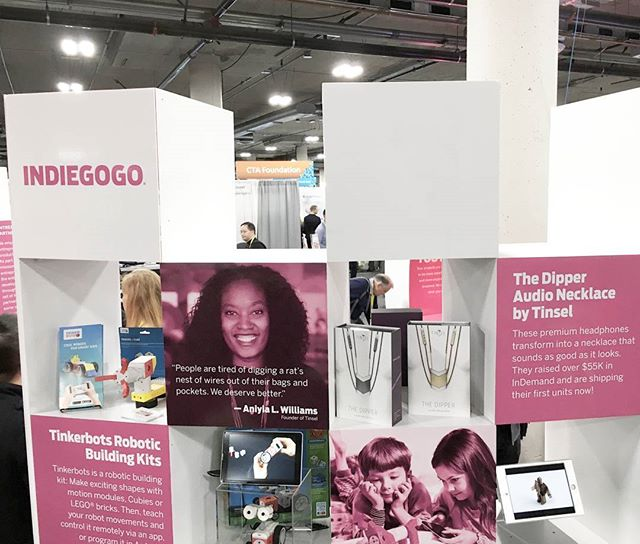 Throwback to just last week with @indiegogo show #TinselWear some love at #CES2017 event in Las Vegas.