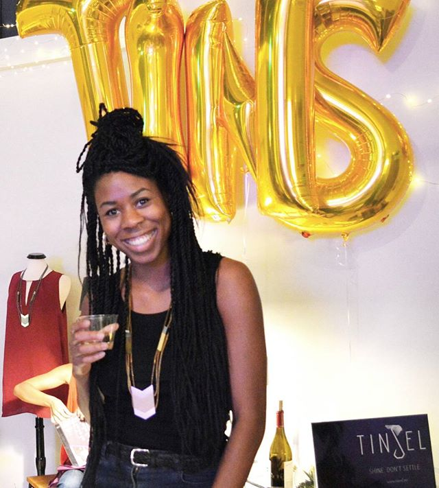 This is Terri. Terri knows that a glass of wine and a bit of shine will keep a lady looking - and feeling divine.  Loved meeting Terri and more at Tinsel's Pop-Up celebration this month!