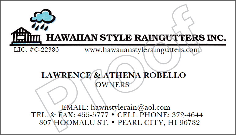 Raingutter Contractor Business Card
