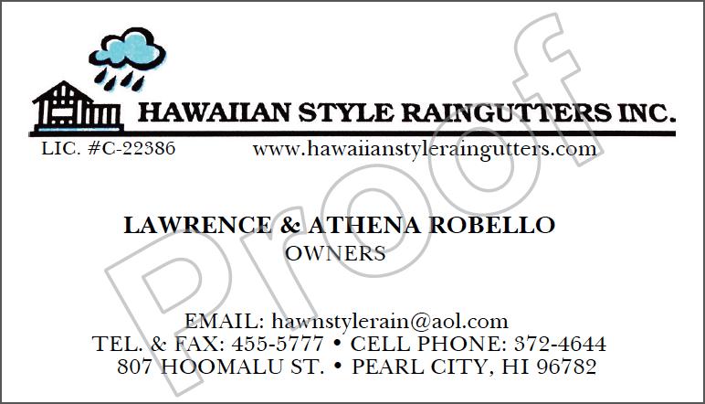 Raingutter Contractor Business Card