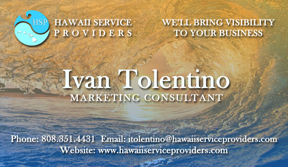 Hawaii Service Providers Business Card (Back)