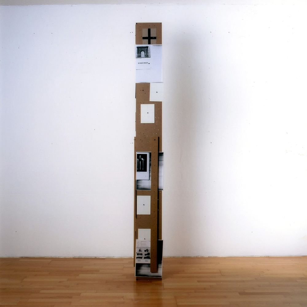 Pillar - 3 - 200/20 (1996) MDF, Drawing Foil, Photo Copies, Adhesive Strips, Silver Eyelets