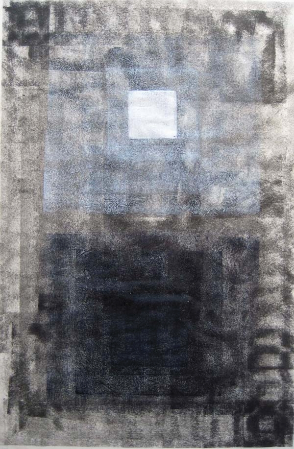 Beacon.  2014. woodcut, rubber and metal relief on Japanese paper. 39 in x 26 in
