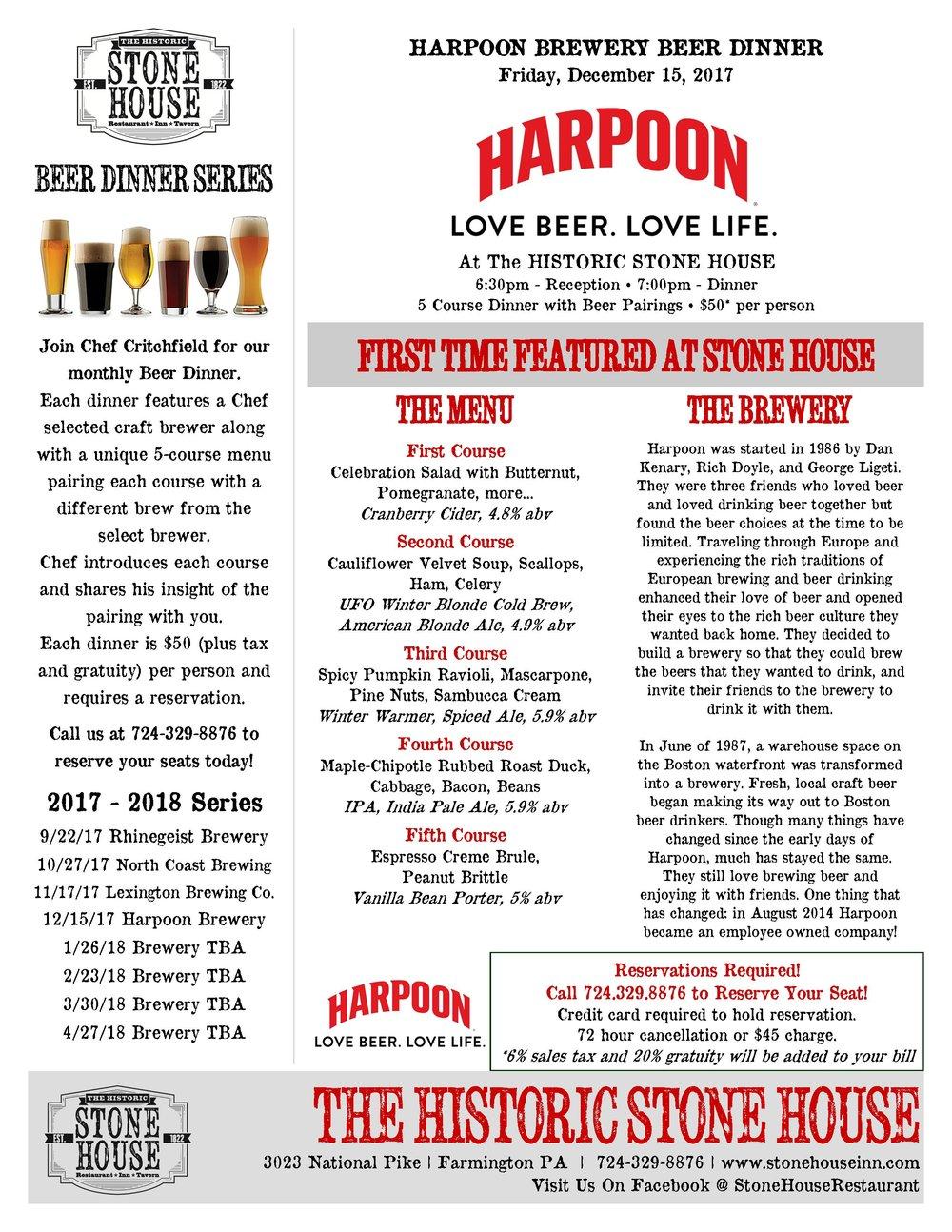 Harpoon Brewing Beer Dinner 121517.jpg
