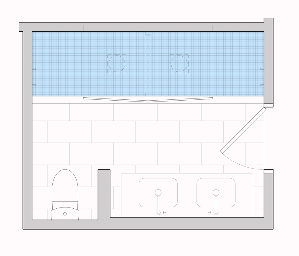 Proposed frame-less double shower
