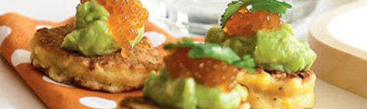 corn-blini-with-avocado-and-salmon-roe-